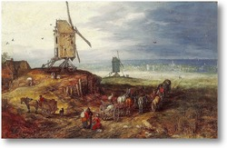 Картина Пейзаж с мельницей