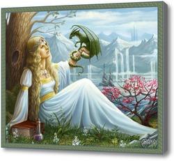 Картина Эльфийка и дракон