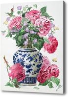 Картина Розы в китайской вазе