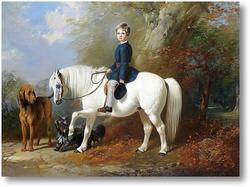 Картина Мастер Бересфорд со своим любимым пони и собакой