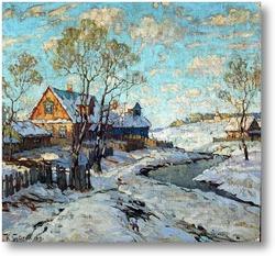Купить картину Поосле снегопада в деревне