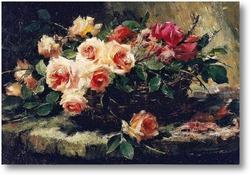 Картина Розовые розы в корзине