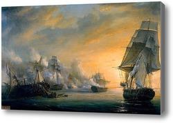 Картина Морской бой между Французским и Английским флотами близ Кадиса