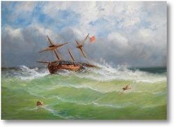 Картина Парусный корабль в бурном море