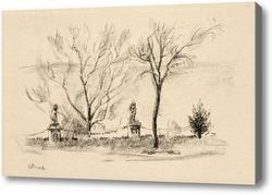 Картина Дерево, пейзаж, дома