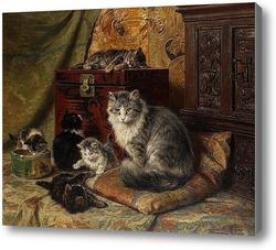 Картина Кошка и котята играют