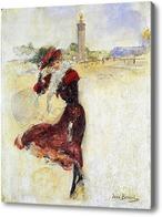 Картина Ветренный день.Девушка в красном платье