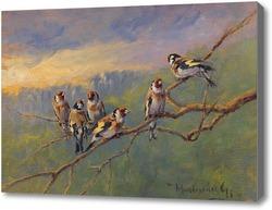 Картина Синицы,сидящие на ветке