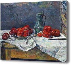 Картина Помидоры и оловянная кружка на столе, 1883