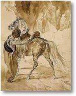 Картина Турок , седлающий коня