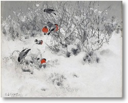 Картина Зимний пейзаж с снегирями