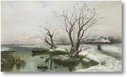 Картина Снежные берега реки