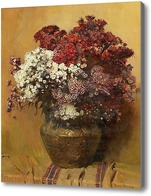 Картина Натюрморт с Турецкой гвоздикой в медном горшке