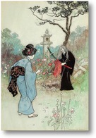 Картина Медсестра, Зеленая ива и другие книжные иллюстрации японских ска