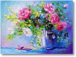 Картина Розы в стаканчике