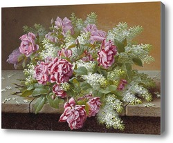 Купить картину Натюрморт с розовыми розами и сиренью