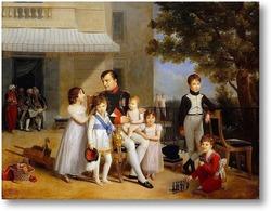 Картина Наполеон с детьми на террасе дворца Сен-Клу
