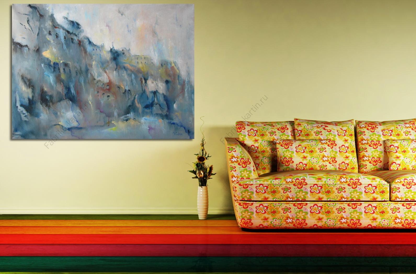 """Репродукция картины """"Гауди"""". Картина маслом на холсте """"Гауди""""  Дождливый Город Картина"""