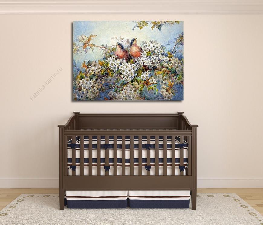 Картина Птенцы среди цветущей яблони