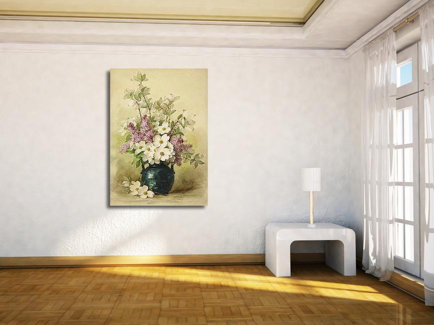 Картина Сирень и кизил в синей вазе, Лонгпре Пауль